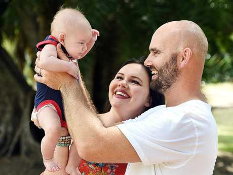 Grant Sanderson and Sheridan Mosk with their son Dylan Sanderson.