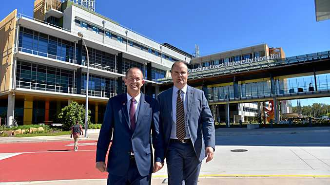Member for Fisher Andrew Wallace and Member for Fairfax Ted O'Brien at the Sunshine Coast University Hospital.