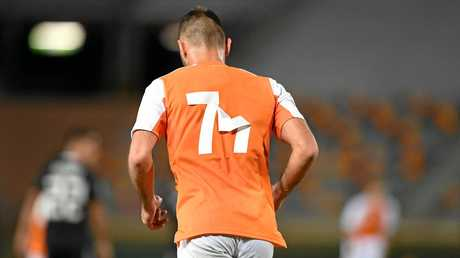 The numbers on some Roar jerseys peeled off during the AFC Champions League match against Ceres Negros.
