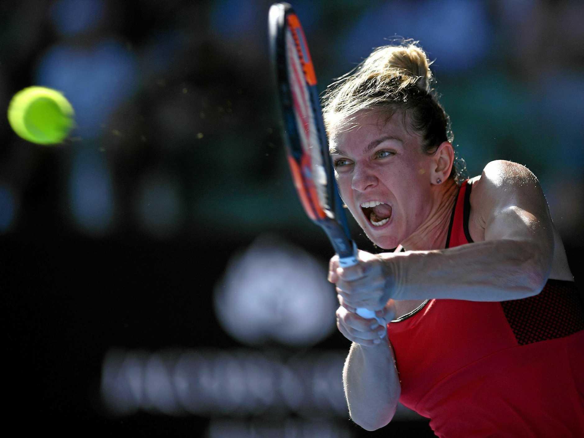 Simona Halep was unable to halt Kiki Bertens' comeback. (AAP Image/Lukas Coch)