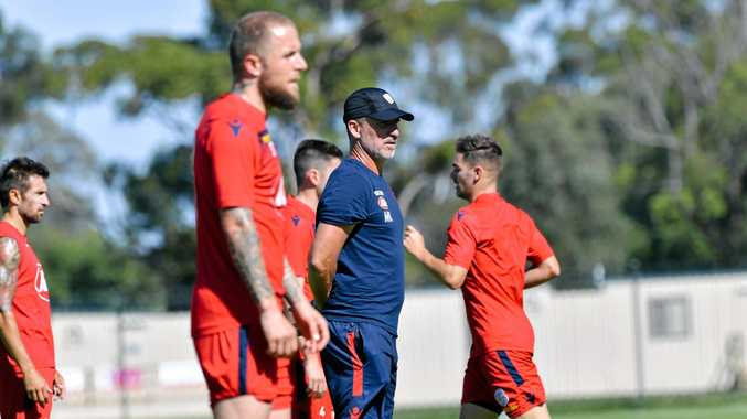Coach Marco Kurz at an Adelaide United training session.