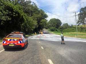 Road to Mullum hit by major coconut oil spill