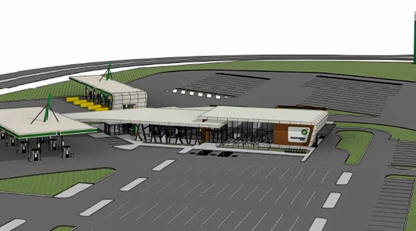 NEW JOBS: An artists' impression looking to the north of the new highway service centre approved for the Teven Rd interchange rest area, which is set to create 200 new jobs.
