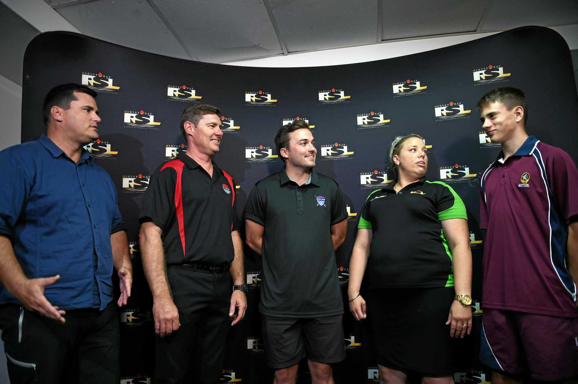 President Stuart Taylor, general manager Peter Guest, visa player Ben Brookfield, RSL community engagement officer Sarah Bailey, and young Buccaeers player Jhairah Taylor. Wide Bay Buccaneers name Hervey Bay RSL as major sponsors.