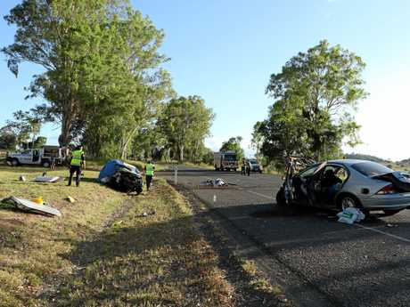 The horror crash at the intersection of the Mary Valley Highway and Birt Road at Long Flat, just south of Gympie, that left Karen Zahner dead and her husband critically injured.