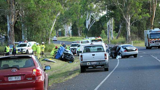 TRAGEDY: Scenes from the crash on Mary Valley Highway that claimed the life of Karen Zahner.