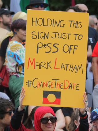 Protester's pointed message. Pictures: John Grainger