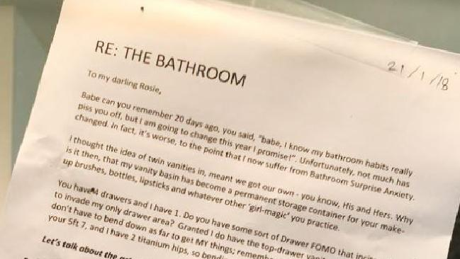 A husband has created a set of bathroom rules for his messy wife. Picture: ABC/Facebook