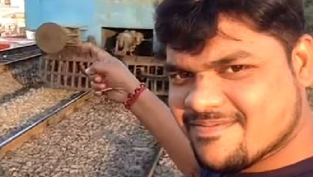 Sickening footage shows the moment a man was hit by a train while trying to take a selfie. Picture: YouTube