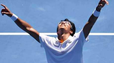 South Korea's Hyeon Chung celebrates beating Tennys Sandgren.