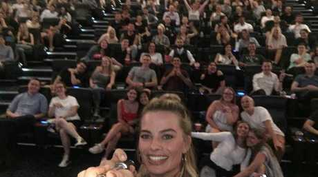 Star and producer of I, Tonya, Margot Robbie, took a selfie with Sydney moviegoers during a special screening of I, Tonya. Picture: Supplied