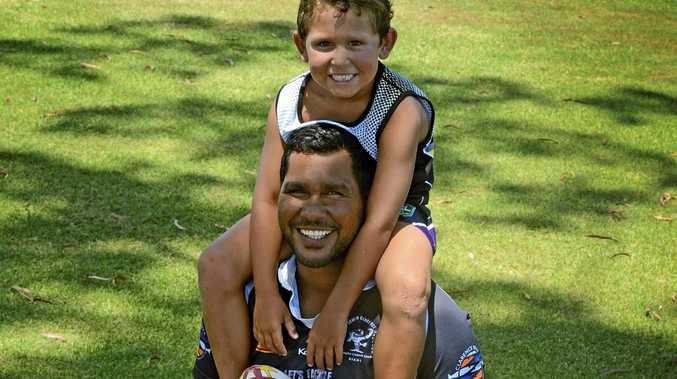 FLYING NORTH FOR WINTER: Hughie Stanley, with son Ochre, has signed with Lower Clarence Magpies.