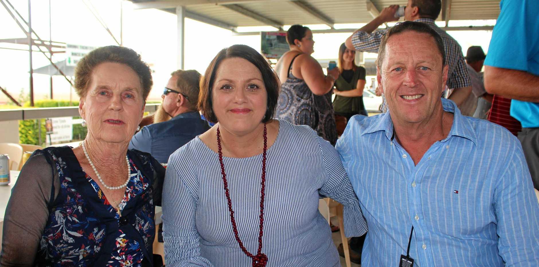 Venie Watt, Belinda Fenton and Garry Watt at the memorial race meeting at Allman Park on Saturday.