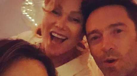 Wilkinson celebrates the new year with Hugh Jackman and Deborra Lee. Picture: Instagram/Lisa Wilkinson