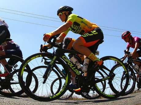 Canberra star Chloe Hosking on her way to winning the Great Ocean Road Race. Picture: Getty Images