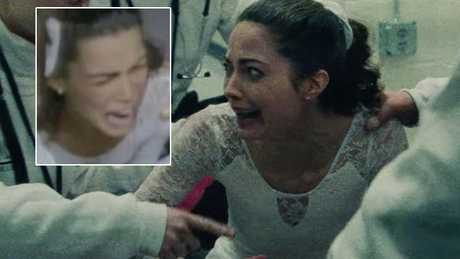 Caitlin Carver as Nancy Kerrigan in I, Tonya, and (inset) the real-life Kerrigan in the aftermath of the attack.