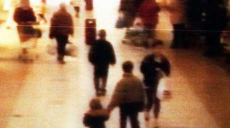 This chilling surveillance image shows his abduction at the Bootle Strand shopping centre in 1993. Picture: BWP Media via Getty Images