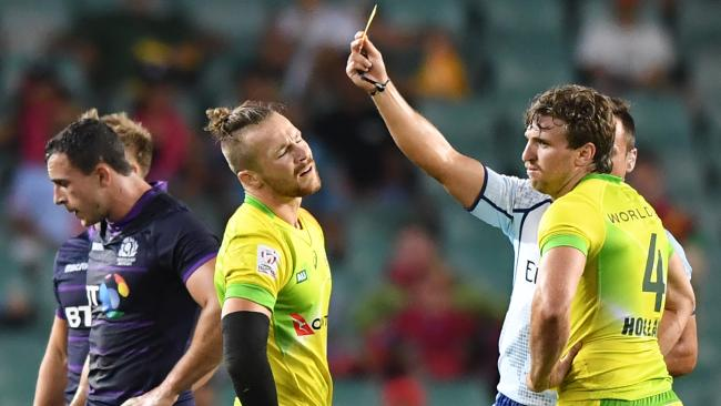 Tom Connor is shown yellow card and sent off. (AAP Image/David Moir)