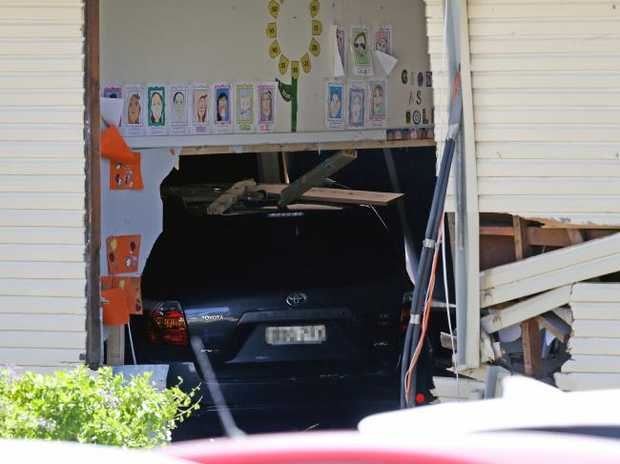 The vehicle crashed into the classroom and two eight-year-old boys died. Picture: Jonathan Ng
