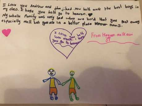 The handwritten letter by Hayam Malkawi to the two boys who died last year when a car drove into their classroom.