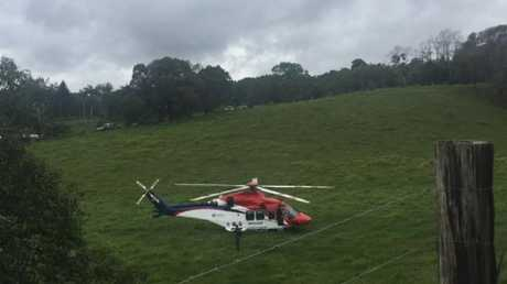 A rescue chopper at the Julatten property. Picture: Gizelle Ghidella