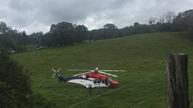 A rescue chopper at the Julatten property. Picture: Gizelle Ghidella