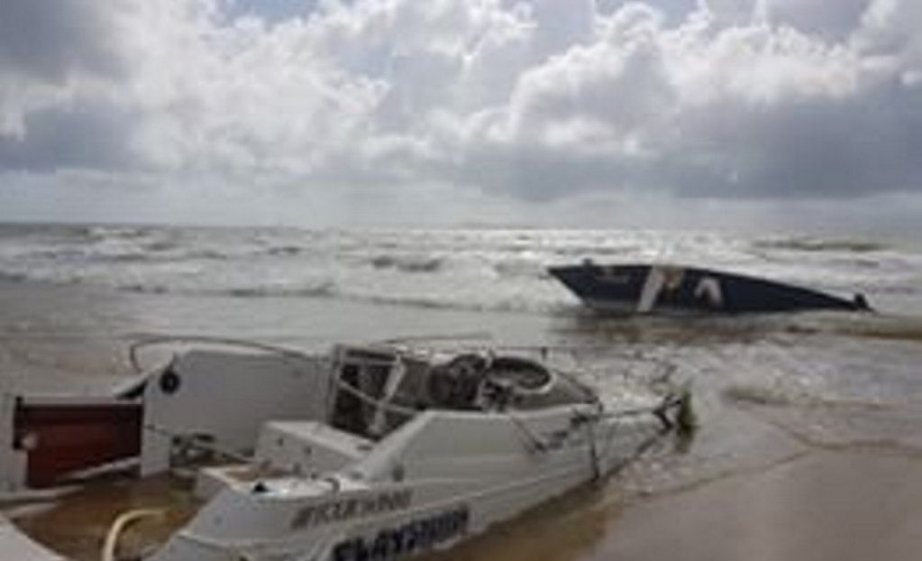 The relentless tide on Sunday morning shattered the boat as it was beached on the shore.