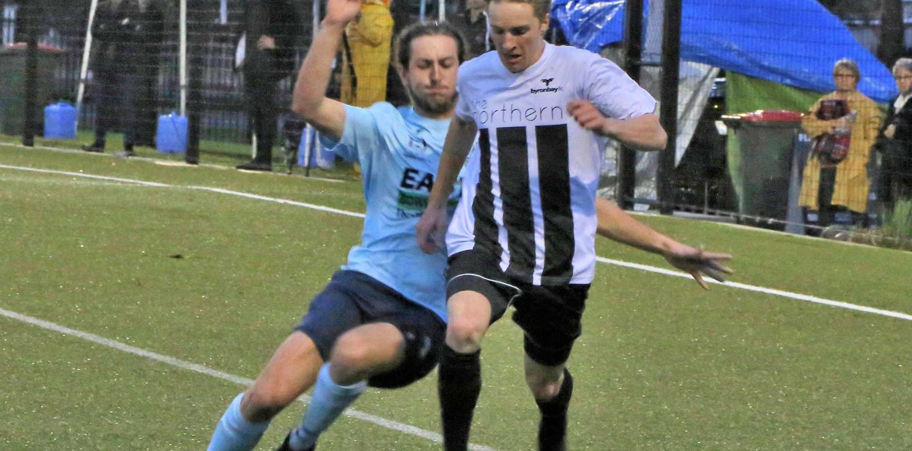 GAME CHANGER: A moment later Ronan Krarup's right leg was shattered in a horrific tackle early in round 6 of the FFA Cup against Maitland NPL in Newcastle in June 2017,