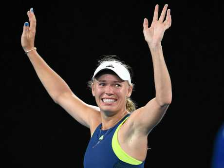 Caroline Wozniacki of Denmark shows her joy after beating Simona Halep in the 2018 Australian Open final. Picture: Lukas Coch/AAP