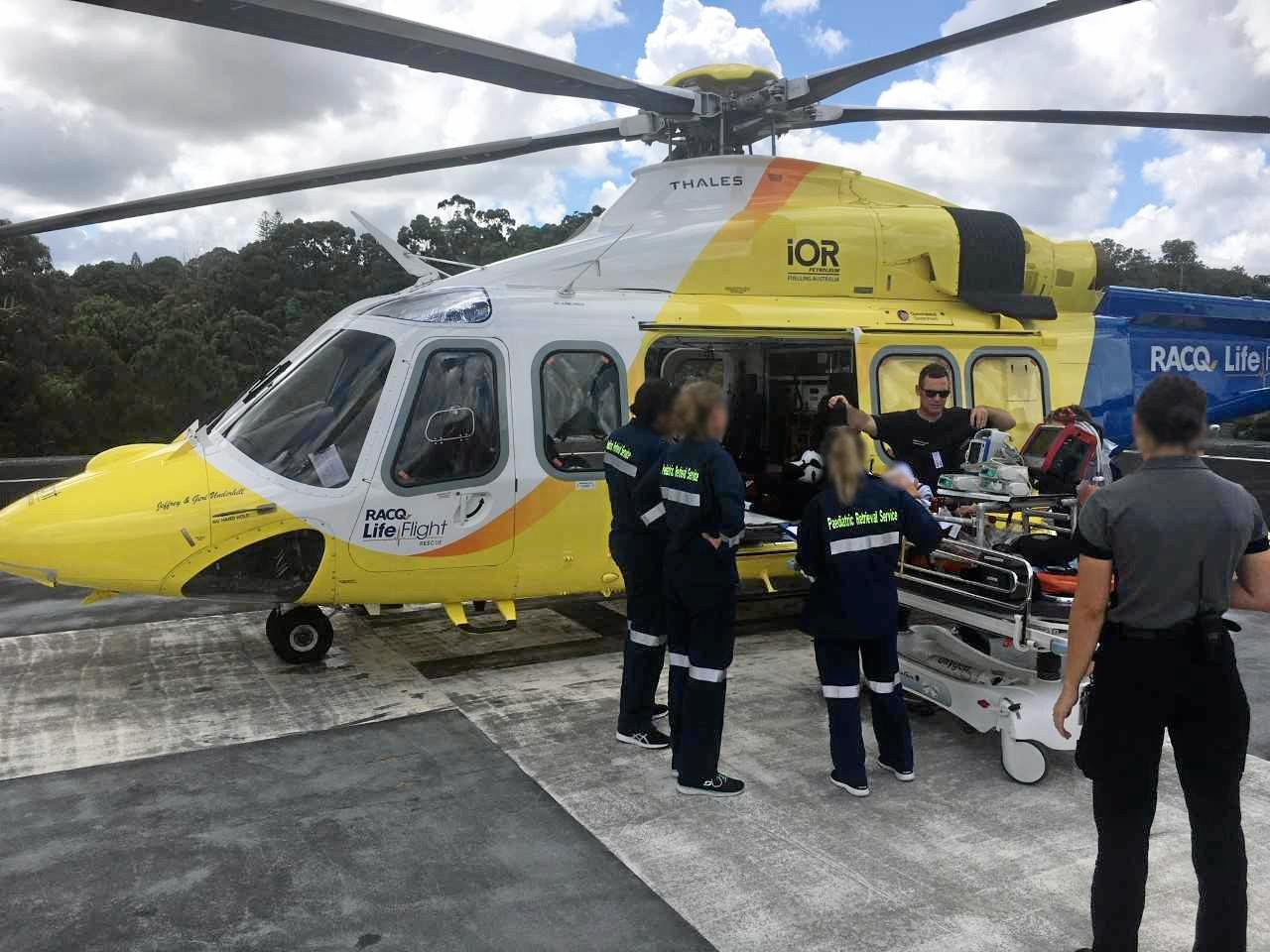 On Saturday the Brisbane based RACQ LifeFlight Rescue helicopter airlifted a pediatric intensive care team from the Lady Cilento Children's Hospital to Nambour Hospital to airlift a male toddler that had suffered a serious head injury in an earlier motor vehicle accident. He was flown in a stable condition.