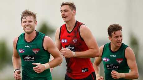 Michael Hurley is over his injury woes, while Joe Daniher and Orazio Fantasia are working hard. Picture: Getty Images