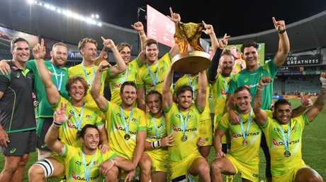 It's celebration time for the Aussies after their Sydney 7s win.