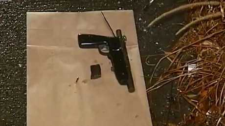 Police found a handgun in bushes near where they allege teens abandoned a car at Reedy Creek overnight. Picture: Nine News/Today Show