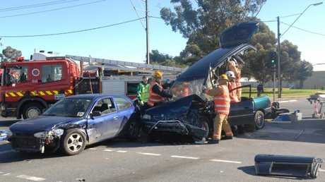 A crash at the intersection of South and Torrens roads in West Corydon in 2009.