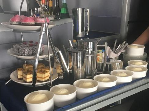 The dessert trolley on board the 17 hour flight. Picture: Supplied