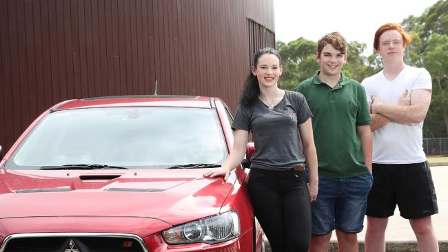 Siblings Hayley Middleton 18, Zac 16 and Oscar 18 from North Ryde. There's a push for drivers as young as 12 getting behind the wheel. Picture: David Swift.