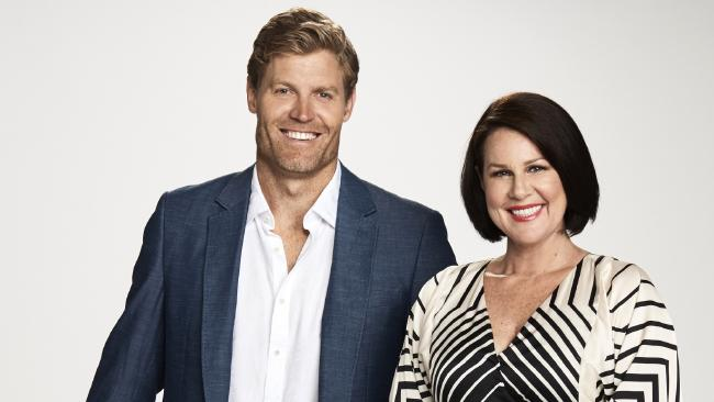 I'm A Celebrity Get Me Out Of Here! hosts Julia Morris and Chris Brown. Picture: Nigel Wright.