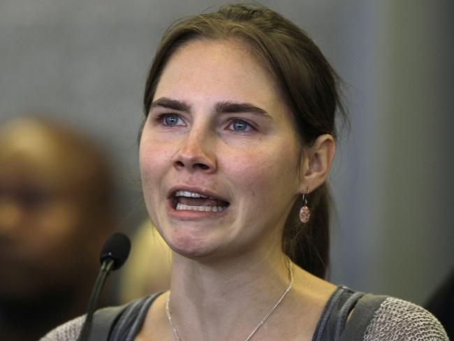 Amanda Knox talks to reporters in Seattle in April 2011. She was freed after an Italian appeals court threw out her conviction for the murder of Meredith Kercher. Picture: Supplied