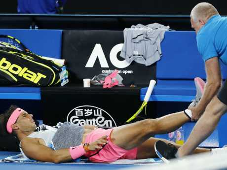 Rafael Nadal receives treatment during the Australian Open. Pic: Michael Klein