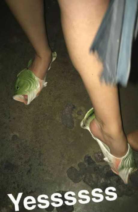 Fish shoes are appropriate club attire.