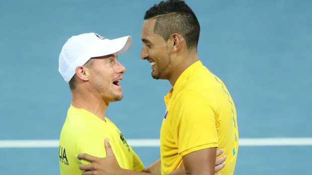 Nick Kyrgios and Lleyton Hewitt during a Davis Cup tie. Picture: Darren England
