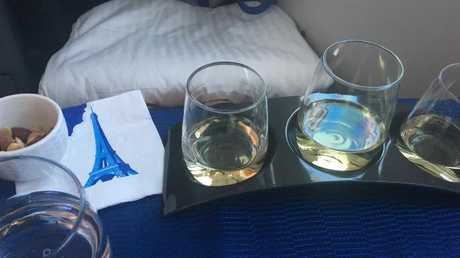 Wine tasting at 35,000 feet. Picture: Supplied