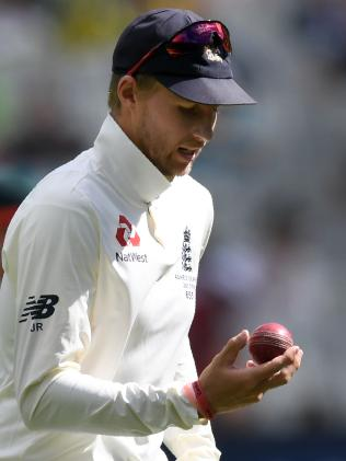 England captain Joe Root inspecting the ball during the recent Ashes Test against Australia. Picture: AAP