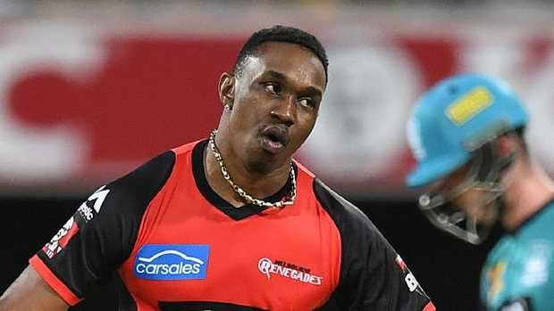 Dwayne Bravo of the Renegades reacts after taking a wicket.