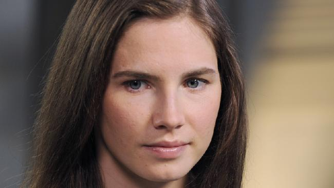 Amanda Knox during the taping of an interview with ABC News' Diane Sawyer in New York. Picture: AP