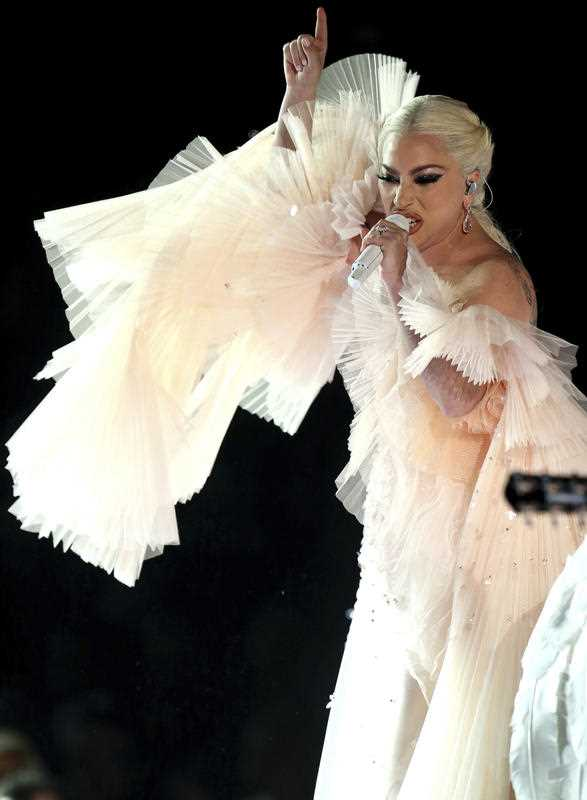 Lady Gaga performs at the 60th annual Grammy Awards at Madison Square Garden
