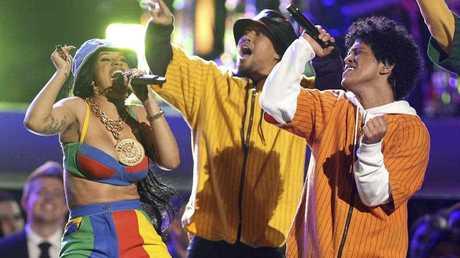 Bruno Mars and Cardi B perform
