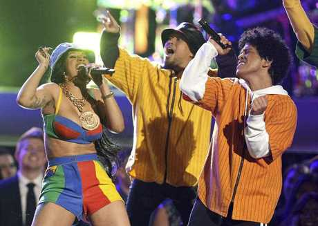 Bruno Mars and Cardi B perform