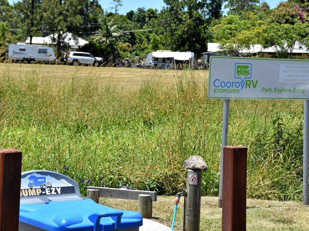 MORE NEEDED: The Cooroy RV stopover facilities and a couple of campers.