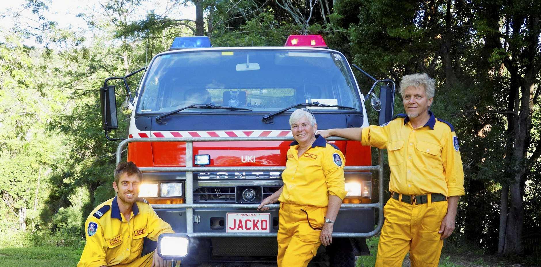 Uki Rural Fire Brigade volunteers Will Ambrose, Carolyn Jones and Bill Jacobi.